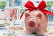 Sparschwein mit roter Schleife und Geldscheine