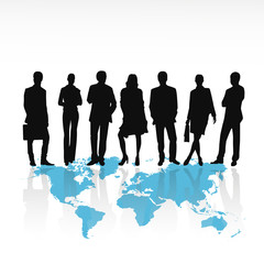 Business people silhouettes standing on world map