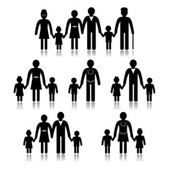 Family - generation silhouette, isolated on white