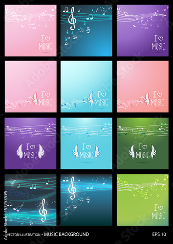 Set of Music Backgrounds - Vector Illustration