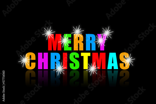 Merry Christmas colorful phrase with bright sparks