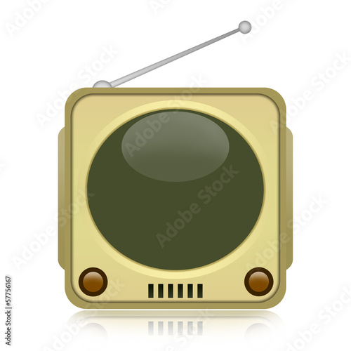 Vintage TV isolated on white background