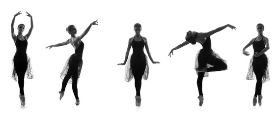 Black and white traces of female balet dancers isolated on white