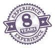 Grunge rubber stamp with the text 8 Years Experience