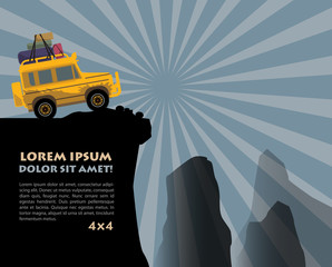 Off-road vehicle background, vector illustration