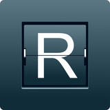 Letter R from mechanical scoreboard. Vector