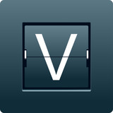 Letter V from mechanical scoreboard. Vector