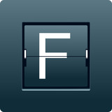 Letter F from mechanical scoreboard. Vector