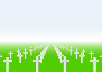 Cimetière militaire - croix avec plaques - fond couleur