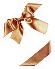brown bow made from silk ribbon