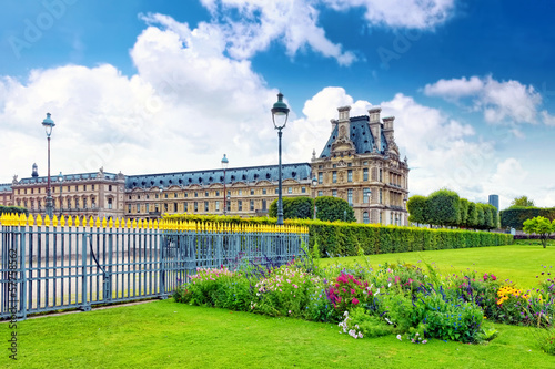 Park des Tuileries and the Louvre Museum.Paris, France