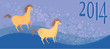 vector illustration of Christmas horse on a blue background 2014
