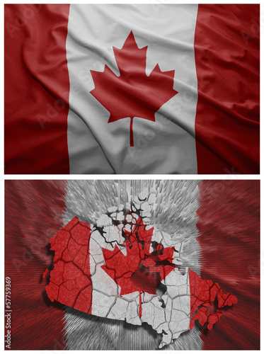 Canada flag and map collage