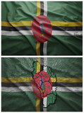 Dominica flag and map collage