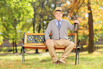 Relaxed senior gentleman sitting on a wooden bench in a park