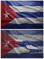 Cuba flag and map collage