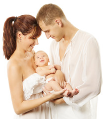 Parents holding newborn baby. Family concept. White isolated