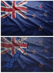 New Zealand flag and map collage