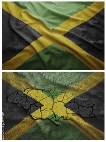 Jamaica flag and map collage