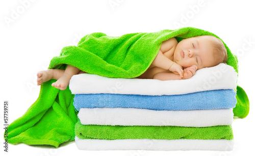 Baby newborn sleeping wrapped in bath towels - 57759751