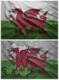 Wales flag and map collage