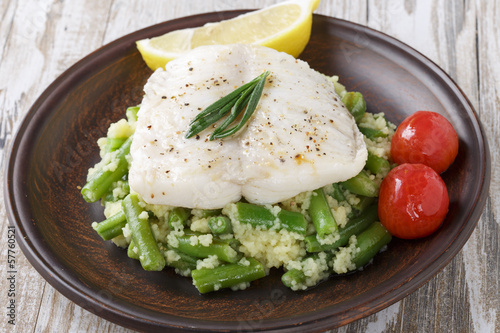 boiled fish fillet with green beans