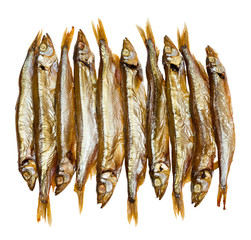 Golden smoked sprats