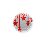 Golf-ball with red stars isolated over white - christmas theme