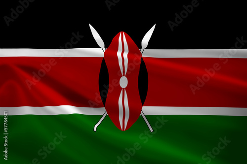 Kenya flag blowing in the wind