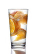 Sliced orange in glass of water