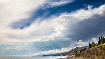 Stormy sky over sea time lapse