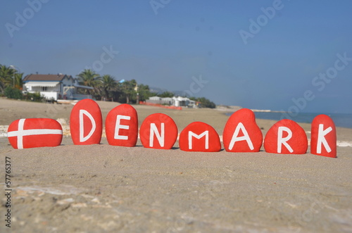 Denmark, souvenir on stones with national colours