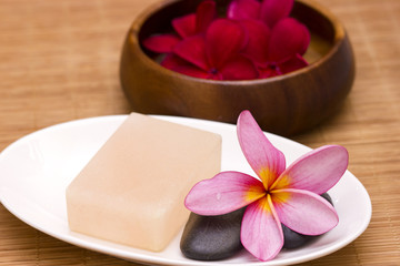 Red frangipani with salt soap crystal