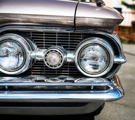 Headlight of a vintage car.