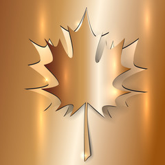 Metallic Autumn Maple Leaf