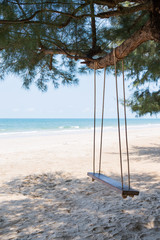 Wooden swing under the tree at the beach
