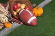 College style Football with a cornucopia on grass field