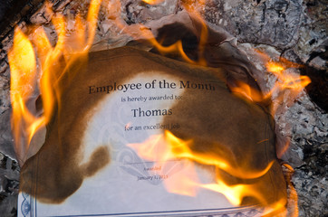 Burning Employee of the Month Certificate