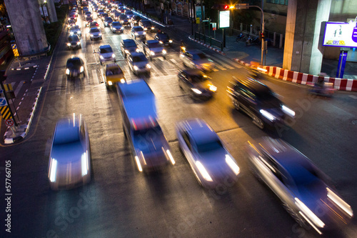 traffic jam in bangkok at night