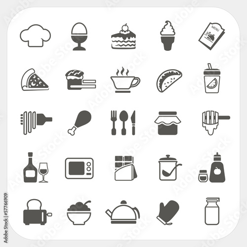 Food icons set on white background
