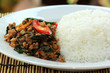 Pad Krapao Moo, spicy stir-fried pork with Thai Holy basil and c