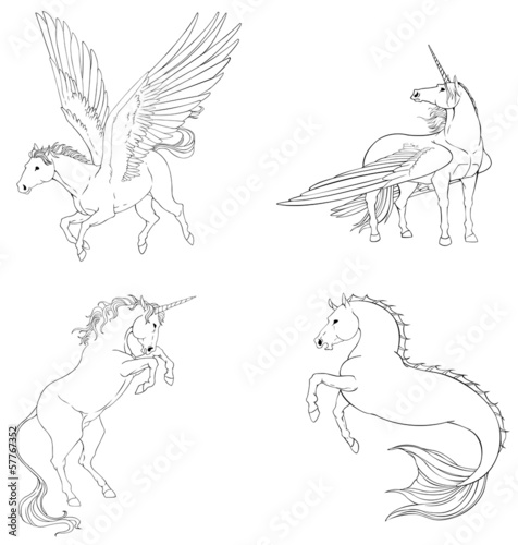 Fantasy horse collection set in black and white vector