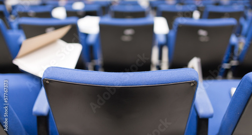 Back row perspective view of lecture chair in conferences room