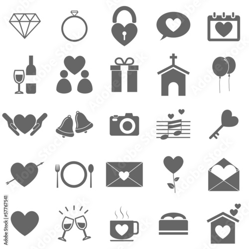 Wedding icons on white background