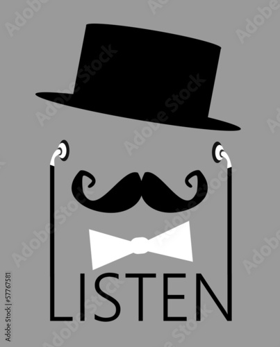 man wearing top hat and earphones