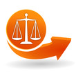 balance justice sur bouton web orange