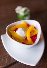 Coconut vanilla ice cream scoop with jackfruit