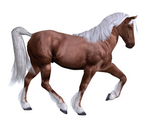 Red horse with white mane