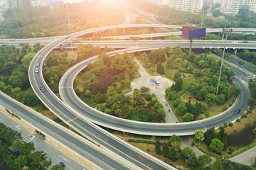 Aerial view of highway viaduct