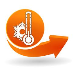 thermomètre froid sur bouton web orange
